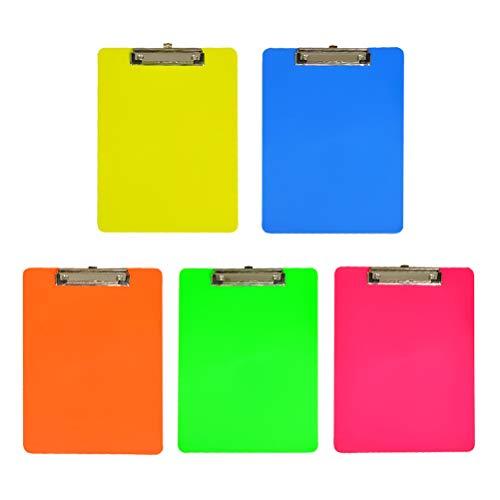 NUOBESTY 5 stücke Kunststoff A4 Klemmbretter Klar Bunte Profil Clip Hartfaserplatte Papierhalter Schreiben Memo Ordner für Office Shop Home