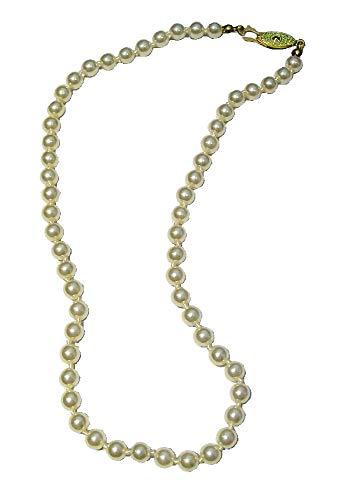 Collar de perlas de imitación color crema marfil con una sola hebra para vestido de fiesta de graduación para mujeres y niñas, damas – 50 cm
