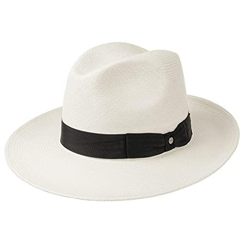Stetson Sombrero Panamá Philadelphia Hombre - de Sol Verano Paja con Banda Grosgrain Primavera/Verano - 56 cm Natural