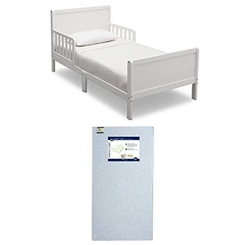 Delta Children Fancy Toddler Bed, Bianca with Serta Perfect Start Crib and Toddler Mattress