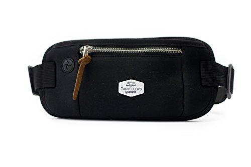 Traveller´s Garden Flache Hüfttasche Bauchtasche mit RFID Blocker für Damen & Herren - enganliegend und wasserabweisend – Geldgürtel zum Sport, Reisen und Joggen, Money-Belt, schwarz