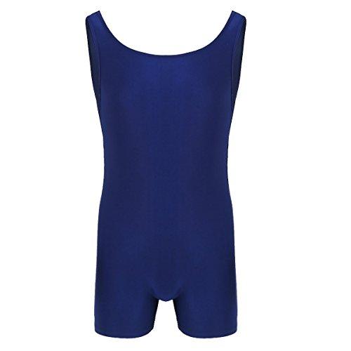 YOOJIA Hombre Mono Deportivo sin Mangas Maillot de Danza Clicismo Bodysuit Ropa Interior Transpirable Body de Gimnasia Azul Marino X-Large
