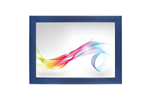 FRAMO 35 mm Bilderrahmen für 21 x 26 cm Bilder, Farbe: Dunkelblau gewischt, maßgefertigter MDF Rahmen mit Anti-Reflex Kunstglasscheibe, Rahmen Breite: 35 mm, Außenmaß: 26,8 x 31,8 cm