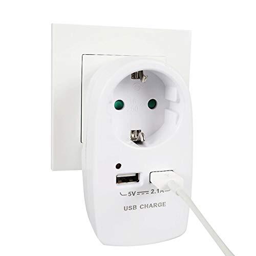 Xinyuan Steckdose mit USB überspannungsschutz(2.1A),3-in-1 Steckdosenadapter mit 2 USB Port,Adapter Steckdose mit Kindersicherung(3680W) Stecker für Büro, zu Hause oder auf Reisen -Weiß