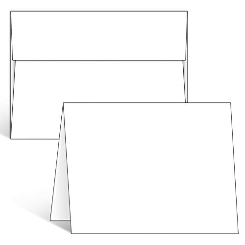 Blank White Cards and Envelopes 100 Pack, Ohuhu 5 x 7 Heavyweight Folded Cardstock and A7 Envelopes for DIY Valentine's Day Cards, Wedding, Birthday, Invitations, Thank You Cards & All Occasion
