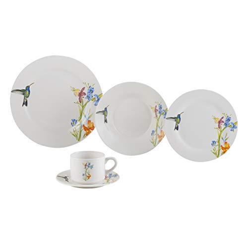 Aparelho de Jantar 20 Peças de Porcelana Beija-Flor Lyor Branco Único