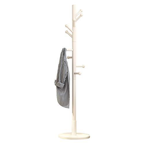 Garderobenständer Bodenstehend Kleiderablage Schlafzimmer Kleiderbügel Massivholz Einfach Büro Regenschirmständer Multifunktion Lagerregal Einstab (Color : White)
