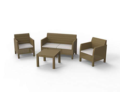 Toomax Set mobili da Giardino Matilde 4 posti, Composto da DIVANETTO A 2 POSTI, 2 POLTRONE E TAVOLINO, in Resina Anti-UV ed intemperie, Colore Cappuccino, Art 114