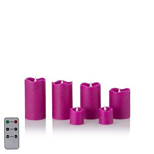 6 LED Echtwachskerzen mit täuschend echter Flamme & Docht, Fernbedienung und Timer (6er Beere)