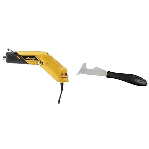 WAGNER 2398546 Heißluftpistolen Gelb + WAGNER Pro Advanced Farbschaber-Set FURNO inkl. 5 Klingen, schwarz-silber