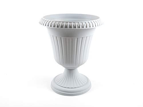 Maceta de plástico con forma de ánfora, jarrón blanco y mármol, altura de 56 cm, maceta Milano
