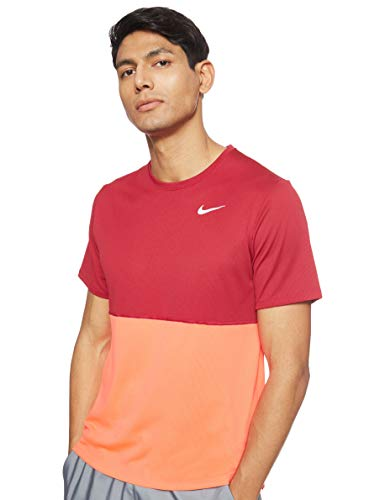 NIKE Breathe Run Top SS Camiseta, Rosa, M para Hombre