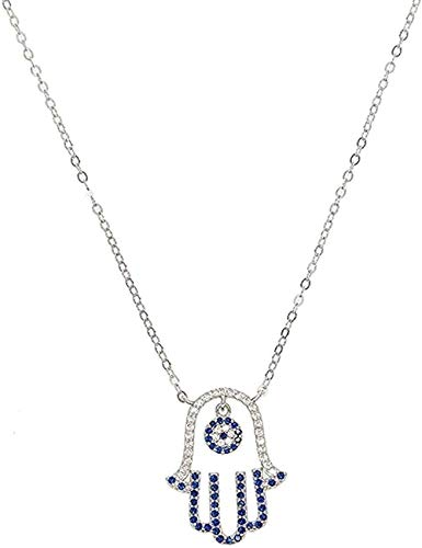 NC83 Collar Collar de plata esterlina 925 para mujer Regalo de joyería de boda Azul Blanco Cz Mano Palma de Fátima Turco Evil Collares pendientes Collar Regalo