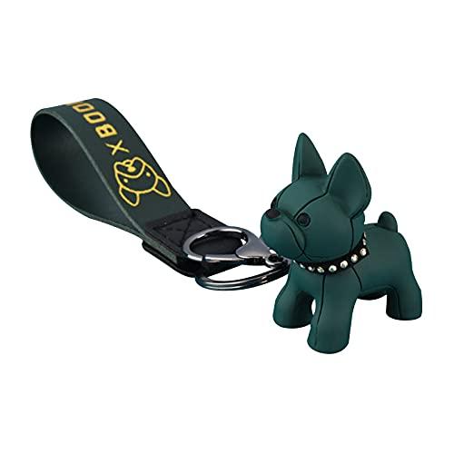 French Bulldog Rubber Keychain, Car Key Chain Keychain Accessories Purse Hand bag Backpack (green,)