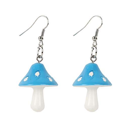 Idiytip Mushroom Fruit Hook Earrings Strawberry Pineapple Tassel Earrings Long Ear Line for Women,blue