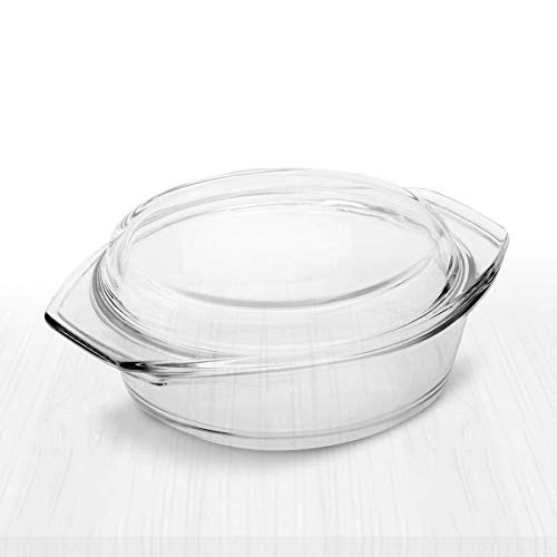 Simax Clear Glass Casserole | With Lid, Heat, Cold and Shock Proof, Made in Europe (2 Quart)