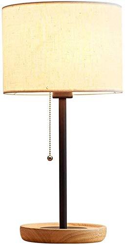 Zenghh Rustikal Massivholztischlampe Nordic Einfacher Gewebe-Lampenschirm mit Knopf-Schalter-Leseleuchte Modern Vintage Art Deco Beistelltisch Nacht Study Dresser Schreibtischlampe Geschenk