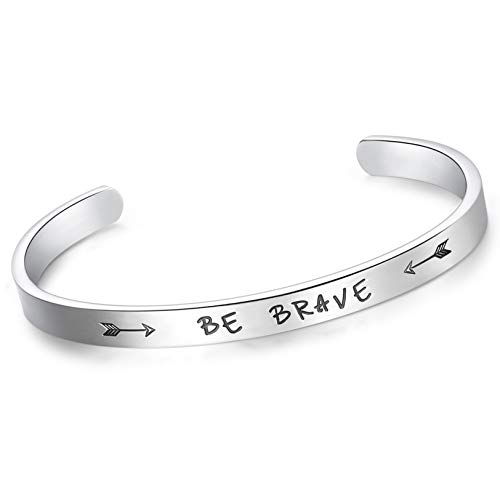 CERSLIMO Inspirational Bracelets for Women Personalized Positive Message Engraved Be Brave Encouragement Friendship Cuff Bangle for Birthday Christmas