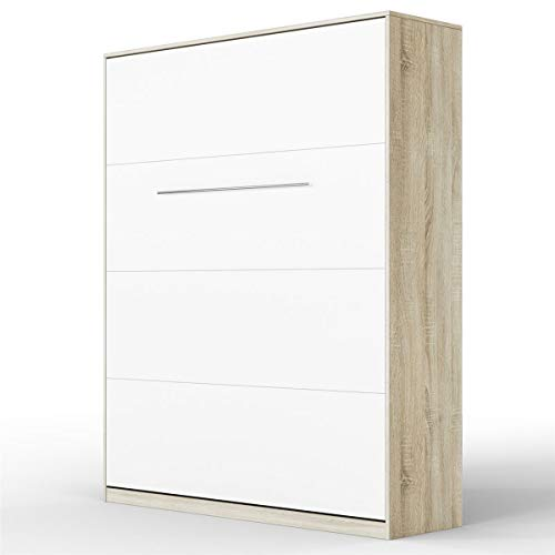 SMARTBett Standard Cama abatible Cama Plegable Cama de Pared (Antracita/Antracita Brillante, 160 x 200 cm Vertical Confort)
