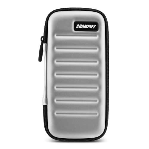 Champify® Darttasche Silber mit Haltesystem gegen Verrutschen der Dartpfeile | Hard-Case zum Schutz für 3 Steeldarts oder Softdarts und vielen Taschen für Dart Flights und weiteres Darts Zubehör