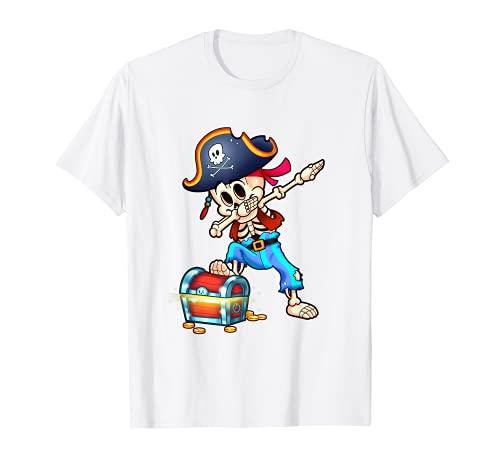 Esqueleto Dabbing Pirata Divertido Halloween Camiseta