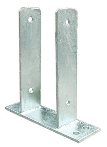 Pfostenträger mit Bodenplatte zum Aufdübeln für Pfosten 8 cm feuerverzinkt 81 mm