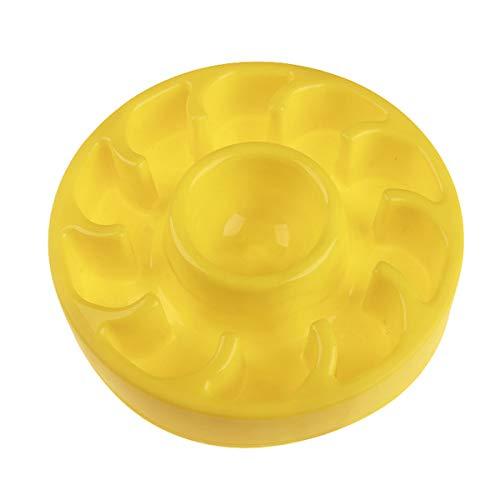 Nosii Nahrungsmittelgrad-Haustier-Zufuhr-Antichoke-Hundenäpfe-Welpen-Katze verlangsamen Sicherheit Eatting gesunden Diät-Teller (Color : Yellow)