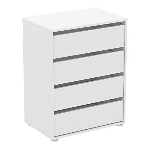 habeig Kommode BLANK weiß Flurschrank Schrank Wäscheschrank Schlafzimmer modern groß Sideboard (#744-60x40x76cm)