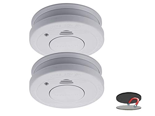 2er-Set Rauchmelder mit Magnethalter, Batteriewarnung & Testtaste - Zulassung nach EN14604