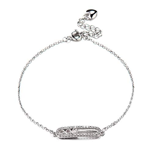 HJPAM Elegante Zirkoonkristal Geometrische Bedelarmband Dame Witgoud Kleur Sieraden Mode Verstelbare Delicate Armband Feestjuwelen