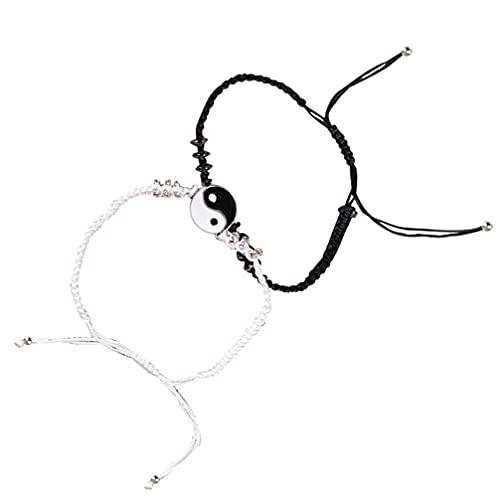 Holibanna 1 par de Pulseras Yin Yang Set Sdjustable Cuerda Elástica Cordón a Juego Distancia Pareja Amistad Mano Tejida Joyería para Mujeres Hombres (Blanco)