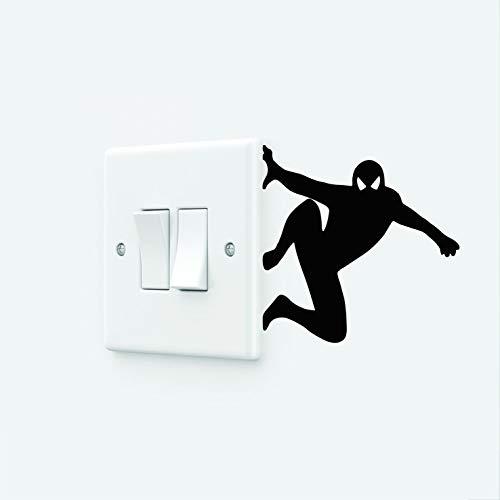 Pegatina de pared de vinilo extraíble con interruptor de luz de Spiderman (120 x 120 mm, grande, amarillo señal)