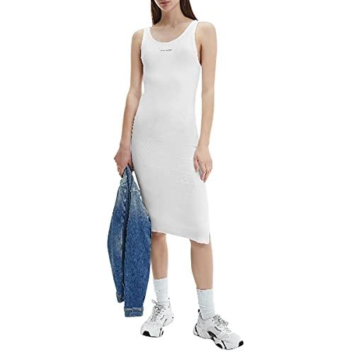 Calvin Klein Jeans Micro Branding Strappy Rib Dress Vestido, Blanco Brillante, M para Mujer