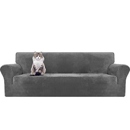 MAXIJIN fundas de sofá de terciopelo grueso extragrande, 4 plazas, súper elásticas, antideslizantes, de gran tamaño, para perros, gatos, mascotas, 1 pieza XL, funda elástica para sofá (4 plazas, gris)