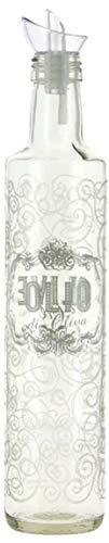 Baroni Home Oliera in Vetro Stampato da Tavola con Tappo Salvagoccia Maison Shabby Made in Italy 500 Ml