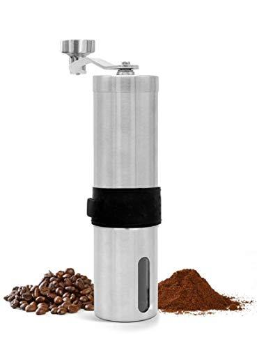 Granny´s Kitchen Manuelle Kaffeemühle aus Edelstahl mit Keramikmahlwerk (Mühle stufenlos verstellbar) Handbetriebene Espressomühle für frischen Kaffee