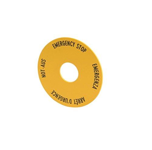 Eaton 216483 Schild, not-aus, gelb, D = 60 mm, 4-Sprachig, De, EN, FR, It