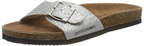 Les P'tites Bombes Rosa, Sandale Femme, Argent Glitter, 39 EU