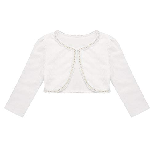CHICTRY Little Girls' Long Sleeve Beaded Lace Bolero Cardigan Flower Girl Shrug Dress Cover Up (2-3 Years, Lace Pearl White)