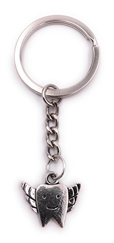 H-Customs Zahn mit Flügel Zahnarzt Schlüsselanhänger Anhänger Silber aus Metall
