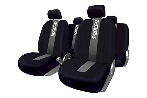 Sparco SPC1012 CLASSIC - Juego de fundas para asientos de coche, color negro y gris, 11 Piezas