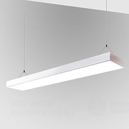 Natur LED Panel Pendelleuchte Deckenleuchte 4800LM Wei?e Grenze H?ngelampe mit Seilaufh?ngung und Trafo Wei?rahmen [Energieklasse A+] (wei?e Schale, 60W)