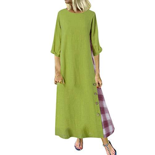 Auifor❤ Dames vintage casual etnische print mouwloze jurk met V-hals linnen maxi-jurk