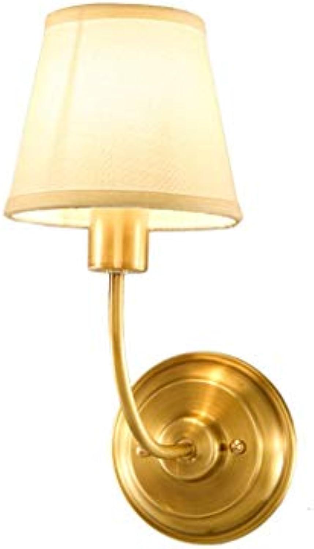 JFFFFWI American Full Copper Wandleuchte Einfache Moderne Wohnzimmer Gang Full Copper Wandleuchte Europischen Stil Schlafzimmer Nachttischlampe Spiegel EIN Paar Leicht zu Reinigen