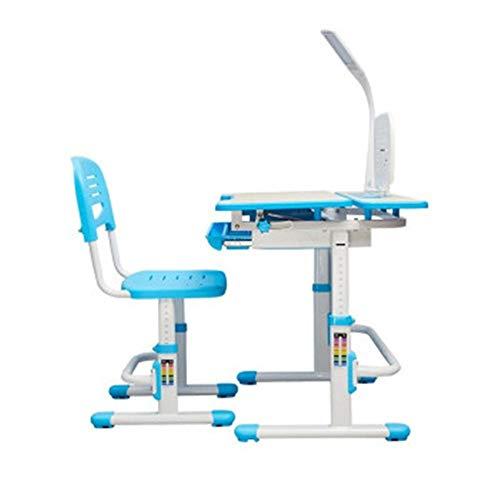 AOWU Mesa de Estudio para niños De los niños Escritorio y Juego de sillas de Altura Ajustable for Alumnos de Primaria y Escuela Media para Estudiantes (Color : Blue, Size : Medium)