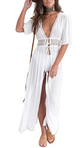 Camisola Larga de Playa para Mujer Cardigan Pareos Bikini Cubierto Largo Kimono Transparente con Encajes Bikini Cover Up Traje de Baño Ropa de Natación de Playa Novias (Blanco, 3XL)