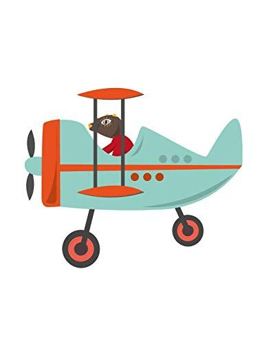 Sticker enfant: Avion Bleu Speeder - Format : 100 x 93 cm