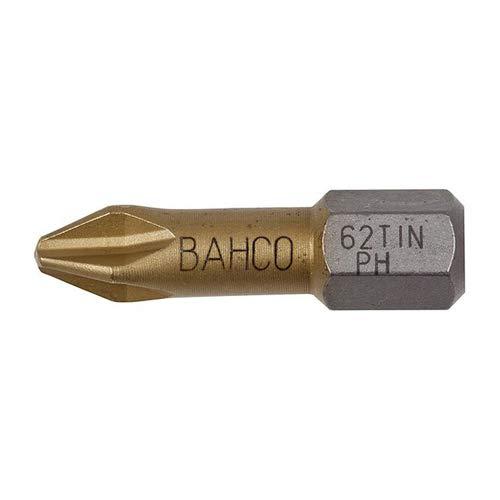 Bahco 62TIN/PH2 - Puntas para destornillador (PH 2, 1/4', 25 mm, 10 unidades)