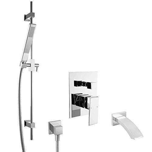 PaulGurkes Unterputz Mischbatterie Set für Badewannen mit Duschstange Wanneneinlass mit Schwalleinlauf eckiges Design UP Montage 2-Wege Einhebelmischer Einhandarmatur