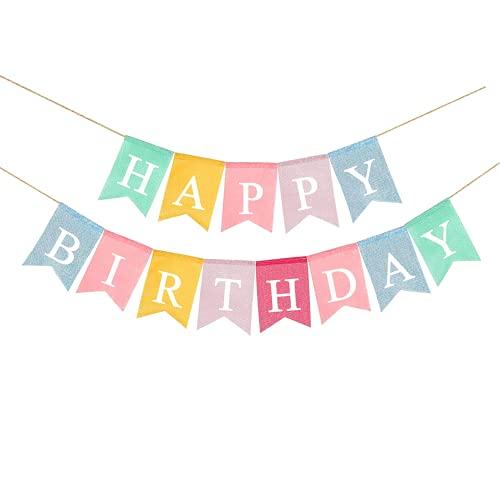 Banderines de tela de arpillera de colores para cumpleaños, diseño vintage con banderines de arpillera para cumpleaños, decoración rústica de fiesta de cumpleaños